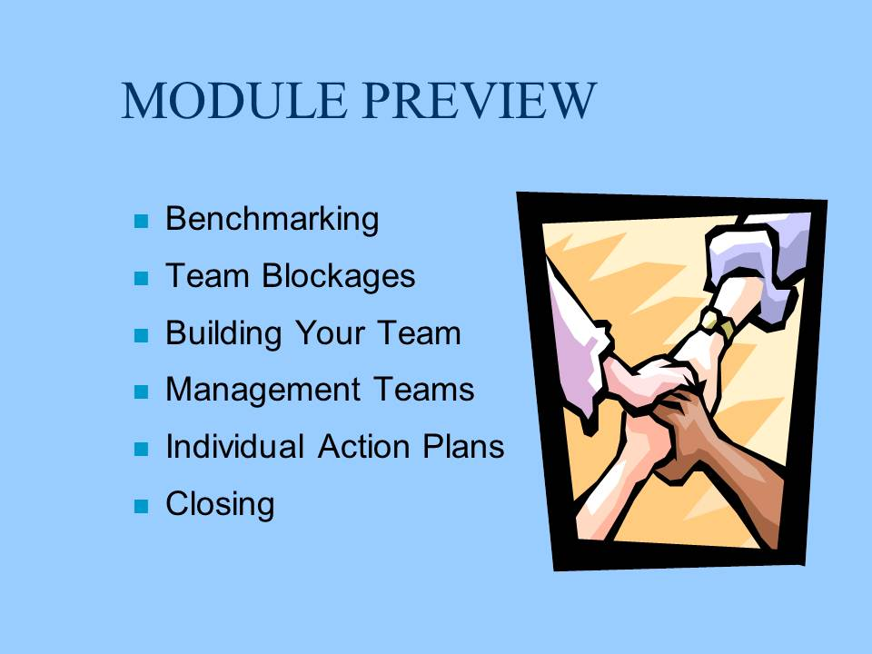 team building module Tools and techniques to build and maintain high performance teams team building stages and the tools and tasks needed to module 1: team building skills.